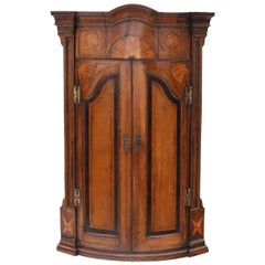 Georgian Inlaid Crossbanded Oak Corner Cupboard