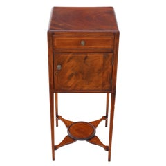 Georgian Inlaid Mahogany Bedside Table Washstand Pot Cupboard