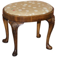 Georgian Irish Walnut Stool, Ornately Acanthus Leaf Carved Legs Lovely Patina
