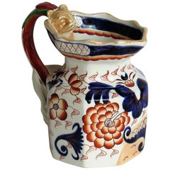 Georgian Ironstone Jug with Dragon Handle Hand Painted, Staffordshire circa 1820