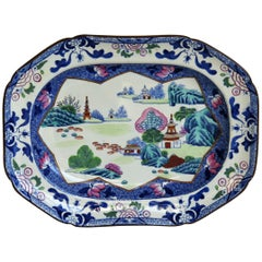 Georgian Ironstone Platter by Hicks & Meigh in Chinese Landscape Ptn, circa 1818