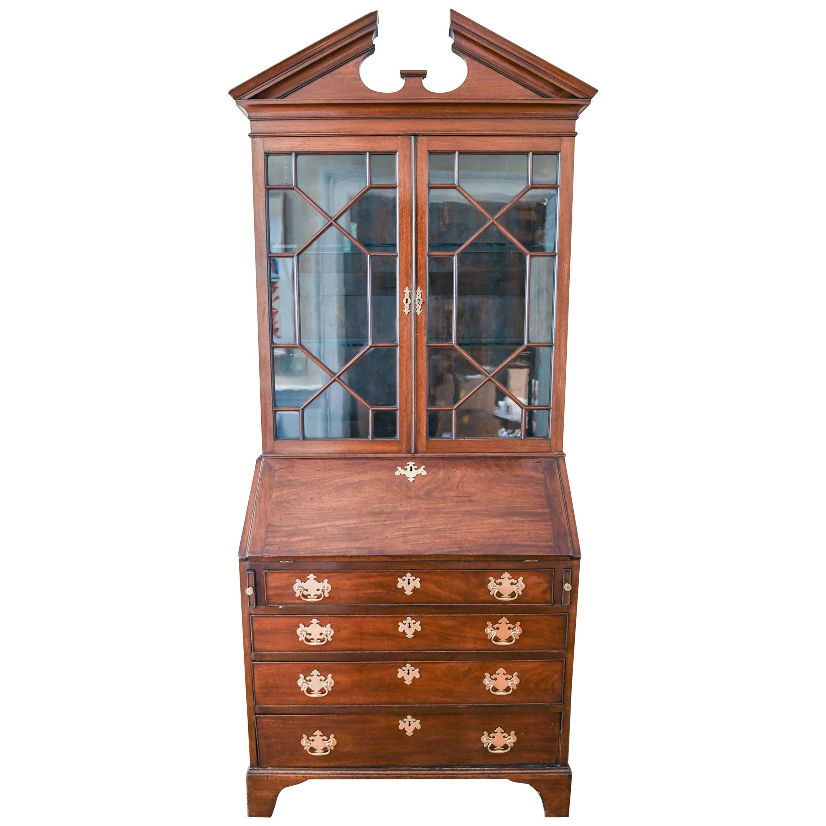 Georgian Late 18th Century Mahogany Secretary Bookcase