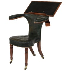 Georgian Mahogany and Green Leather Library Reading Chair