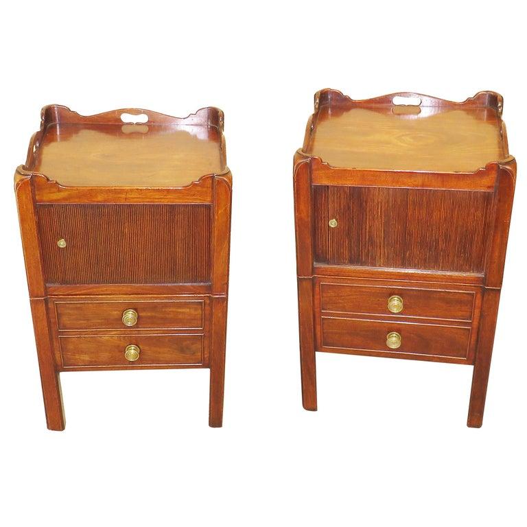 Georgian Mahogany Antique Pair of Bedside Night Tables