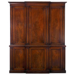 Georgian Mahogany Blind-Door Breakfront Library Bookcase Cabinet, England