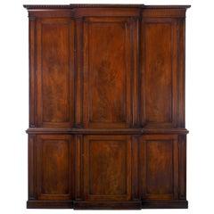 Georgian Mahogany Blind-Door Breakfront Library Bookcase Cabinet, England