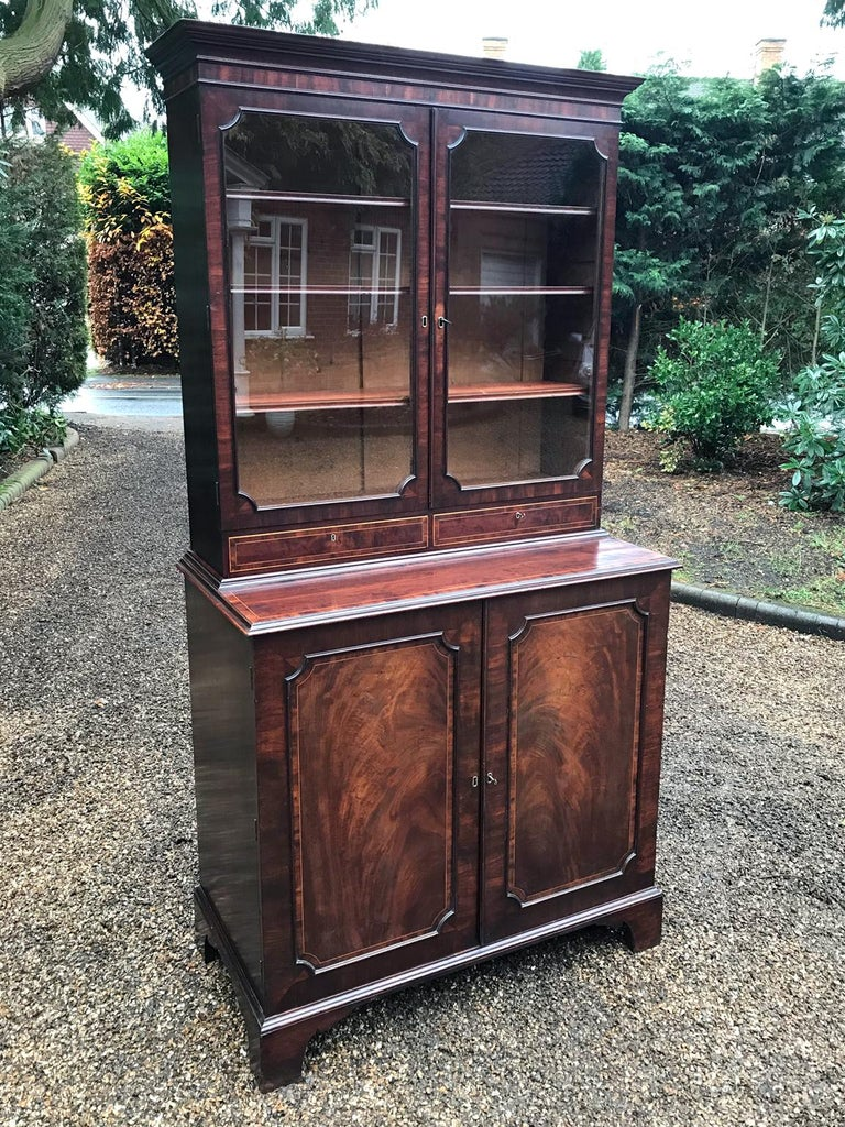 Hand-Crafted Georgian Mahogany Bookcase and Cupboard For Sale