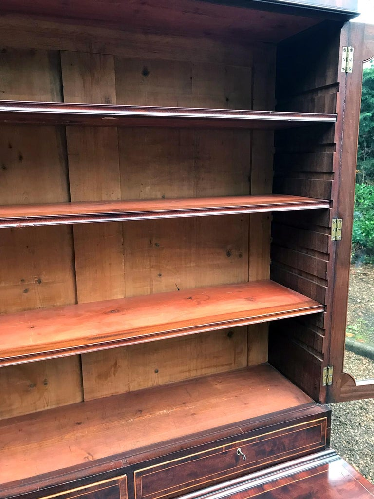18th Century and Earlier Georgian Mahogany Bookcase and Cupboard For Sale