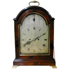 Georgian Mahogany Bracket Clock with Verge Escapement by Joseph Quartermaine