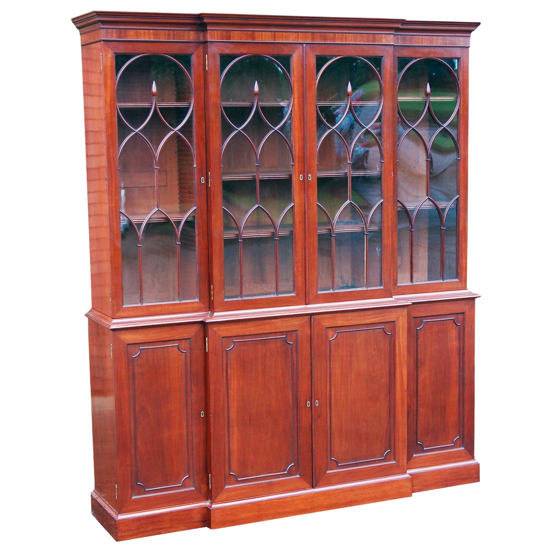 Georgian Mahogany Breakfront Library Bookcase