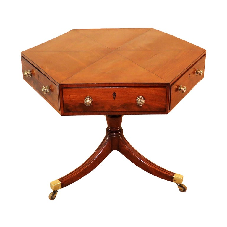 Georgian Mahogany English Hexagonal Drum Top Centre Table