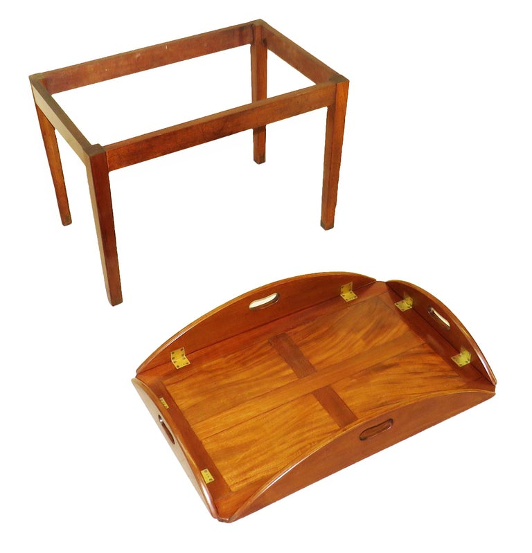 Georgian Mahogany Oval Butlers Tray on Stand Coffee Table In Good Condition For Sale In Bedfordshire, GB