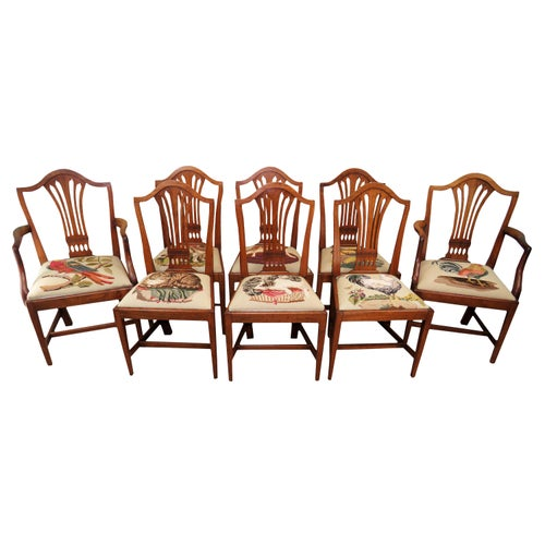 Georgian Mahogany Set of 8 Antique Hepplewhite Dining Chairs