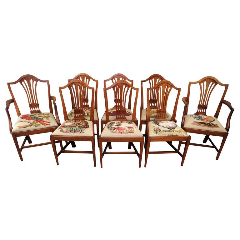 Georgian Mahogany Set of 8 Antique Hepplewhite Dining Chairs