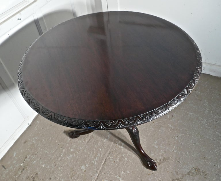 18th Century Georgian Mahogany Tilt-Top Table, Bird Cage Wine Table For Sale