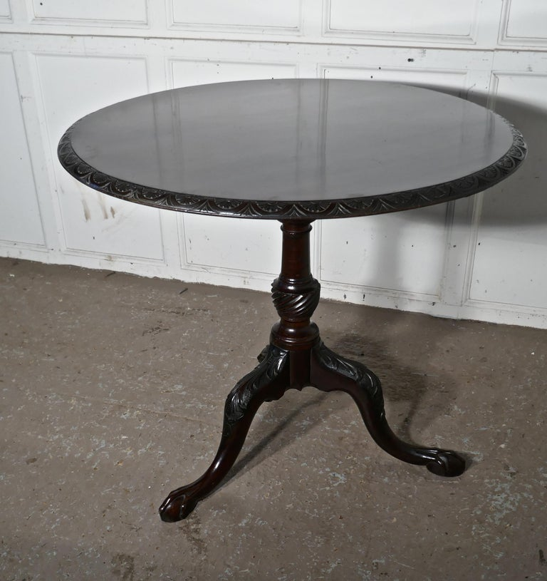 Georgian Mahogany Tilt-Top Table, Bird Cage Wine Table For Sale 2