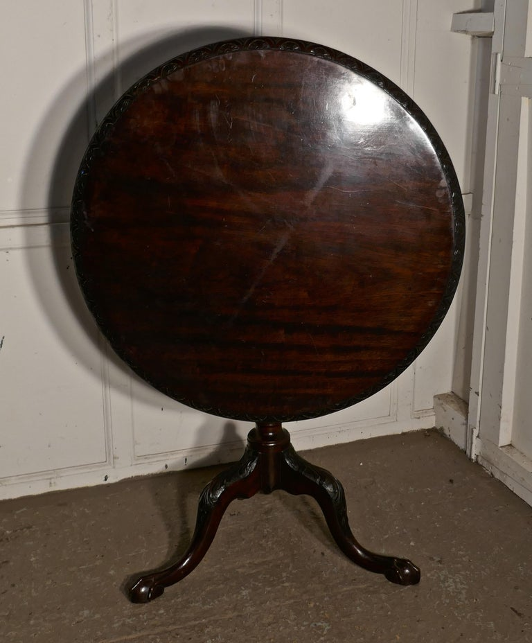Georgian Mahogany Tilt-Top Table, Bird Cage Wine Table For Sale 4