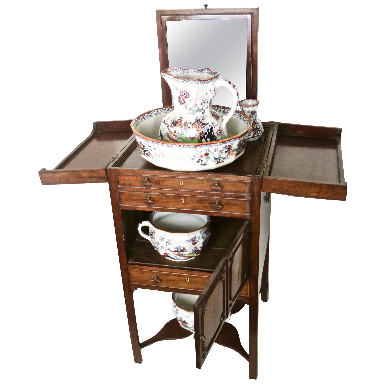 "18thC.Georgian Mahogany Washstand and Six Piece ""Mason's Ironstone"" Toiletry Set"