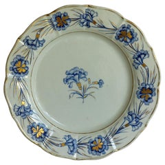 Georgian Mason's Ironstone Dinner Plate Hand Painted Blue Carnation Pattern