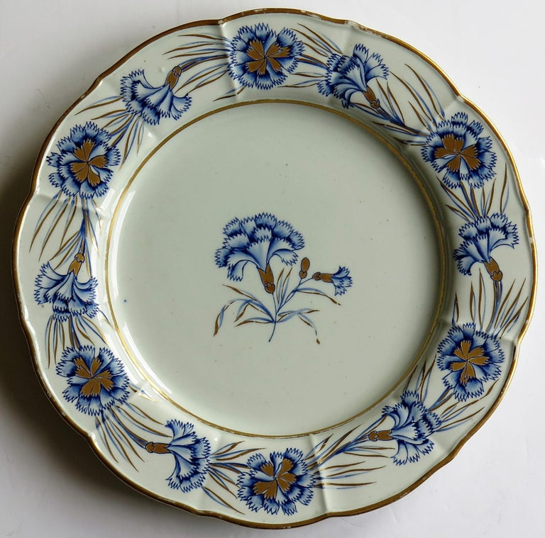 Georgian Mason's Ironstone Dinner Plate Hand Painted rare Blue Carnation Pattern For Sale 3