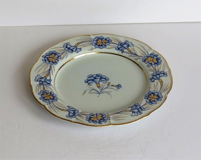 Georgian Mason's Ironstone Dinner Plate Hand Painted rare Blue Carnation Pattern For Sale 4