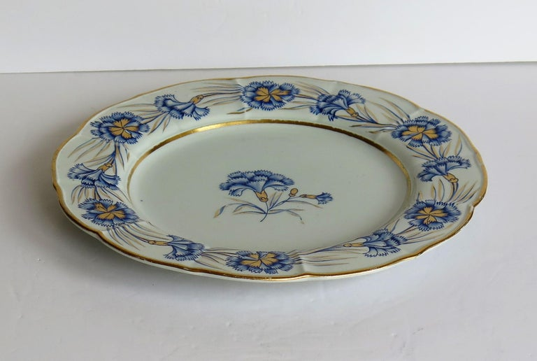 Georgian Mason's Ironstone Dinner Plate Hand Painted rare Blue Carnation Pattern For Sale 5