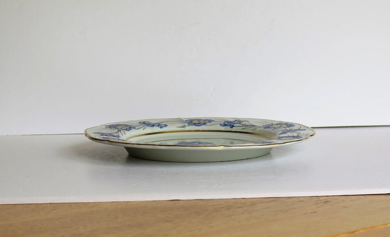 Georgian Mason's Ironstone Dinner Plate Hand Painted rare Blue Carnation Pattern For Sale 6