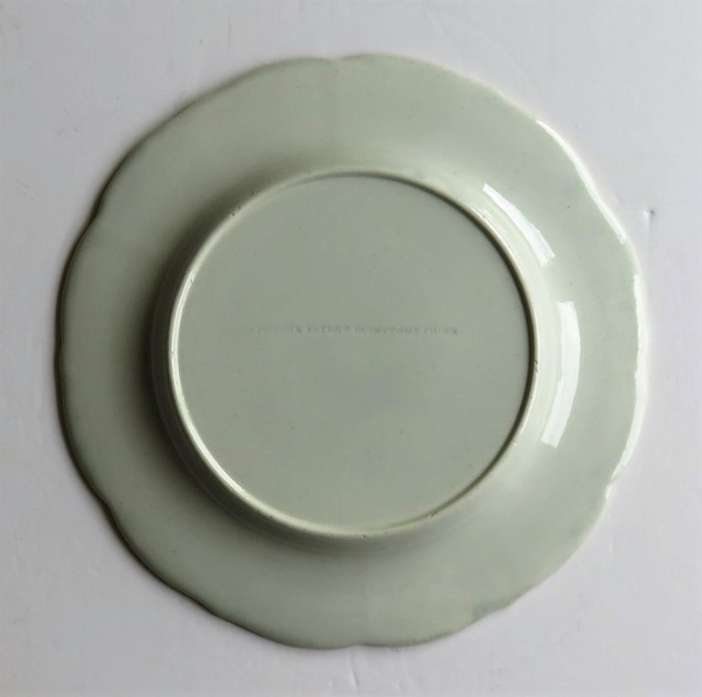 Georgian Mason's Ironstone Dinner Plate Hand Painted rare Blue Carnation Pattern For Sale 7