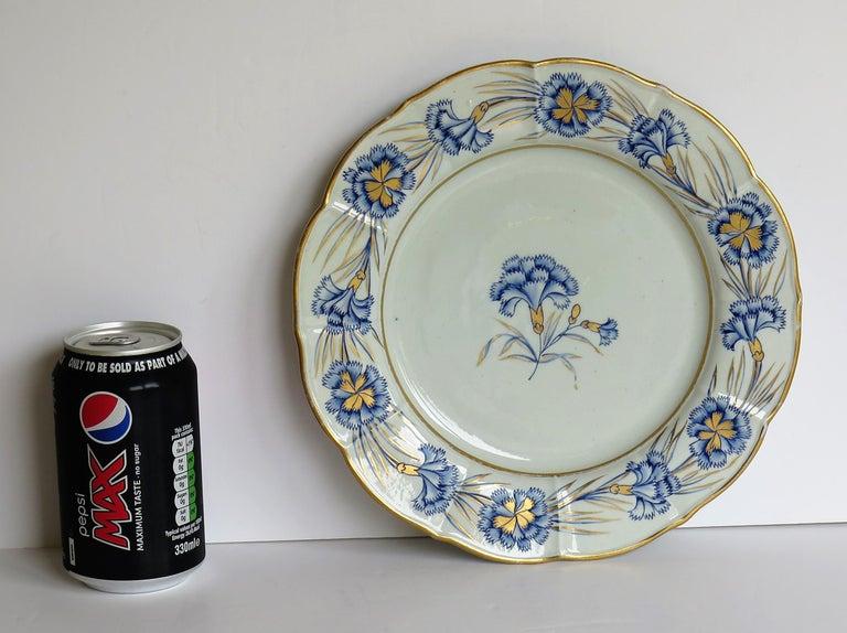 Georgian Mason's Ironstone Dinner Plate Hand Painted rare Blue Carnation Pattern For Sale 10