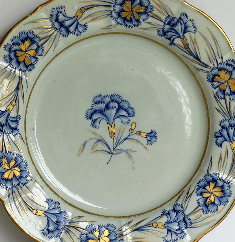 George III Georgian Mason's Ironstone Dinner Plate Hand Painted rare Blue Carnation Pattern For Sale