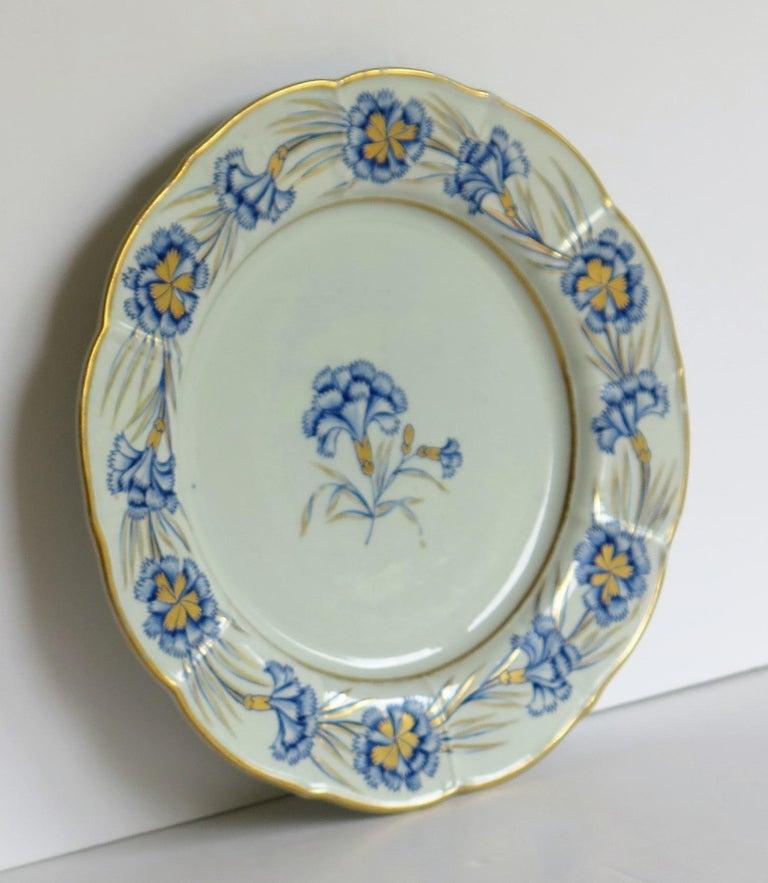 English Georgian Mason's Ironstone Dinner Plate Hand Painted rare Blue Carnation Pattern For Sale