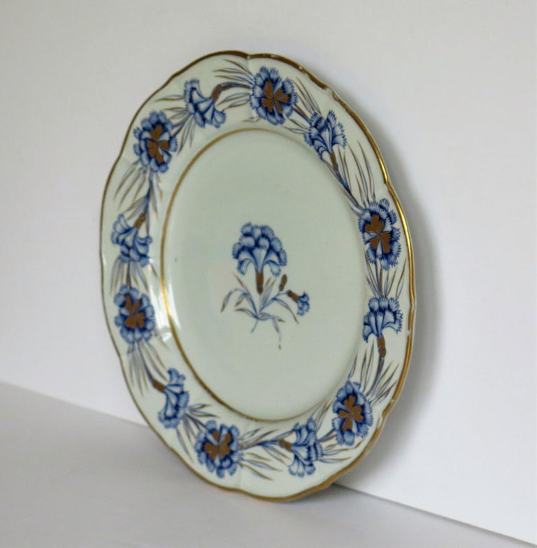 Hand-Painted Georgian Mason's Ironstone Dinner Plate Hand Painted rare Blue Carnation Pattern For Sale