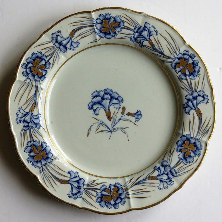 19th Century Georgian Mason's Ironstone Dinner Plate Hand Painted rare Blue Carnation Pattern For Sale