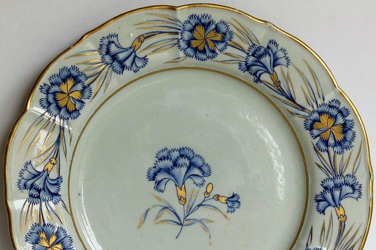 Georgian Mason's Ironstone Dinner Plate Hand Painted rare Blue Carnation Pattern For Sale 1