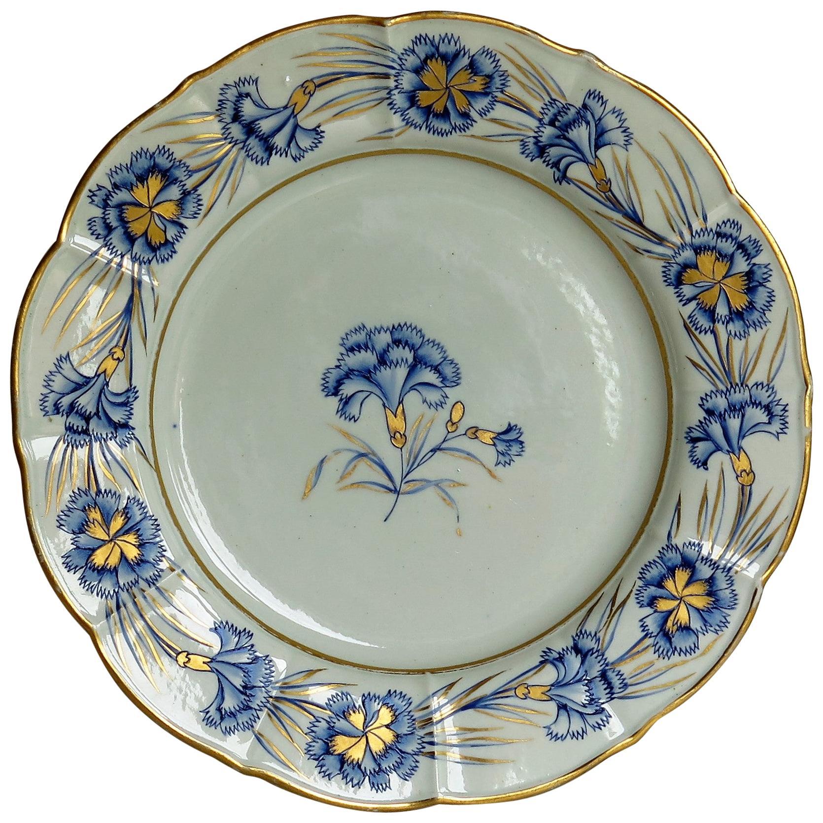 Georgian Mason's Ironstone Dinner Plate Hand Painted rare Blue Carnation Pattern