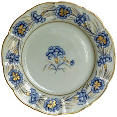 Georgian Mason's Ironstone Dinner Plate Hand Painted rare Blue Carnation Pattern