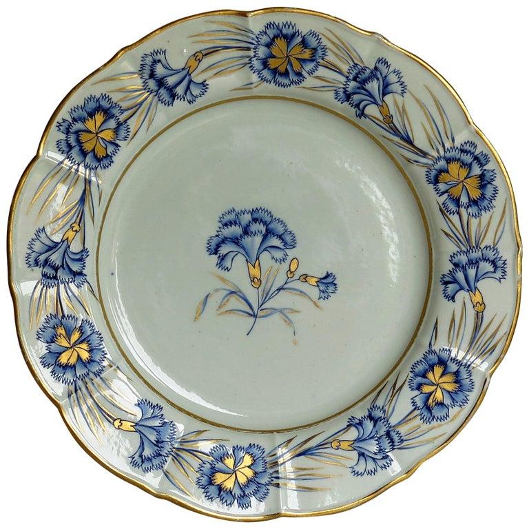 Georgian Mason's Ironstone Dinner Plate Hand Painted rare Blue Carnation Pattern For Sale