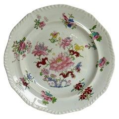 Georgian Mason's Ironstone Dinner Plate in the Ragged Rose Pattern, circa 1815