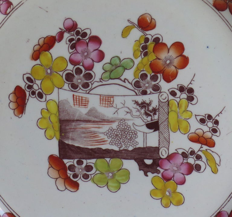 Georgian Mason's Ironstone Dinner Plate Scroll Landscape and Prunus Rare Pattern For Sale 1