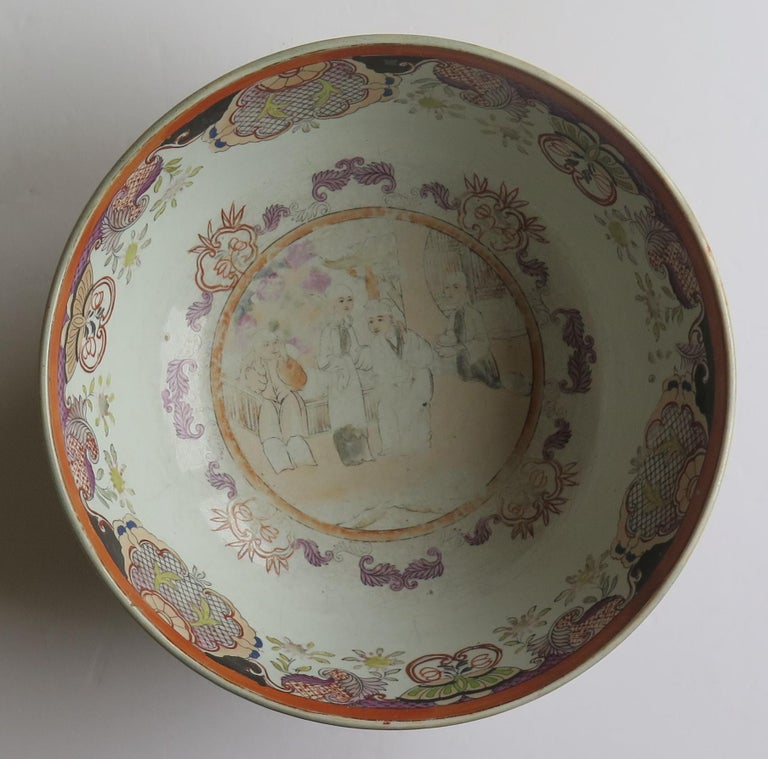 Georgian Mason's Ironstone Large Bowl in Red Scale People Pattern, Circa 1815 For Sale 5
