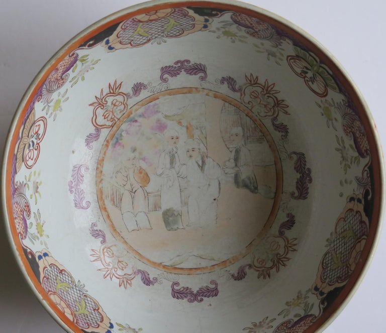 Georgian Mason's Ironstone Large Bowl in Red Scale People Pattern, Circa 1815 For Sale 6