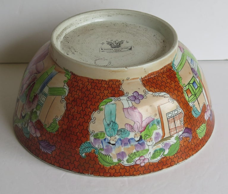 Georgian Mason's Ironstone Large Bowl in Red Scale People Pattern, Circa 1815 For Sale 7