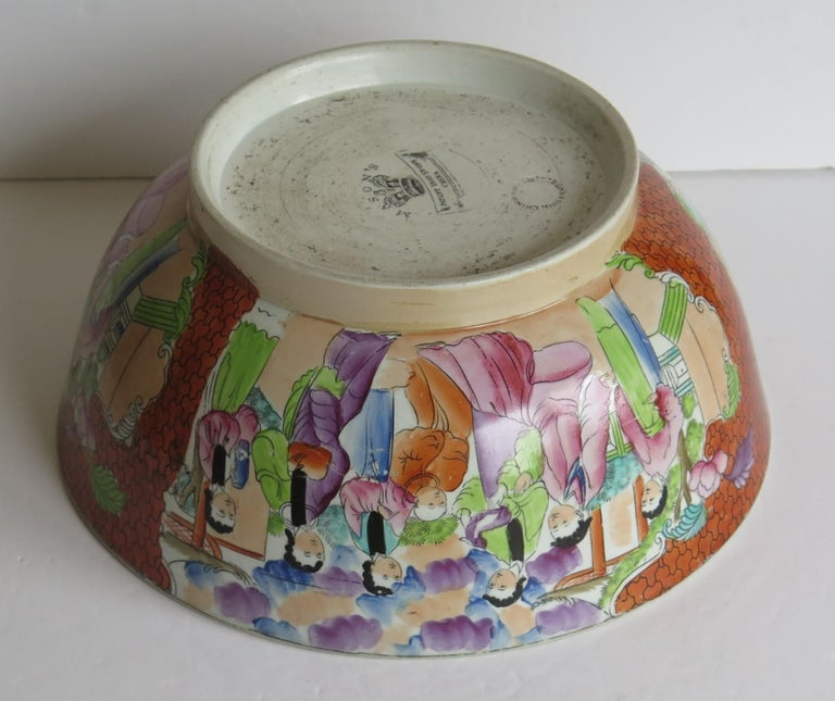 Georgian Mason's Ironstone Large Bowl in Red Scale People Pattern, Circa 1815 For Sale 8