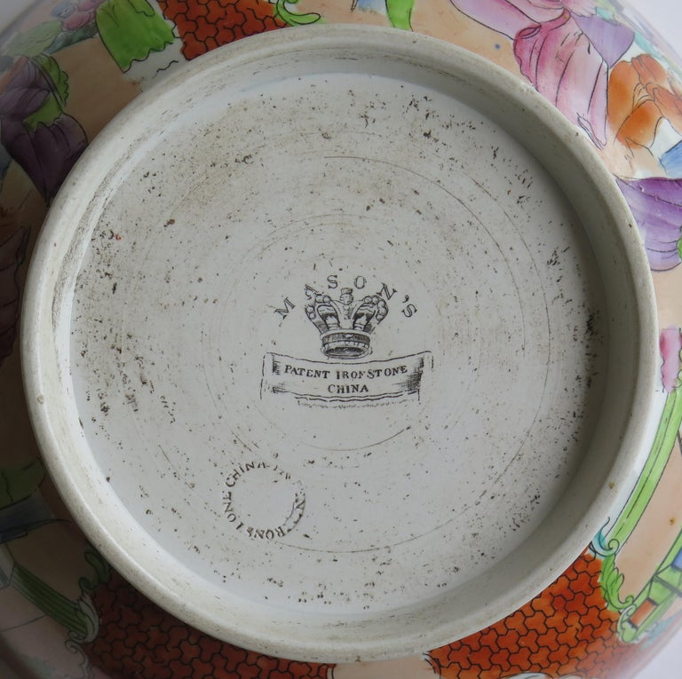 Georgian Mason's Ironstone Large Bowl in Red Scale People Pattern, Circa 1815 For Sale 10