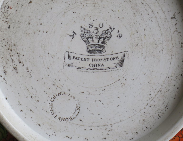 Georgian Mason's Ironstone Large Bowl in Red Scale People Pattern, Circa 1815 For Sale 11