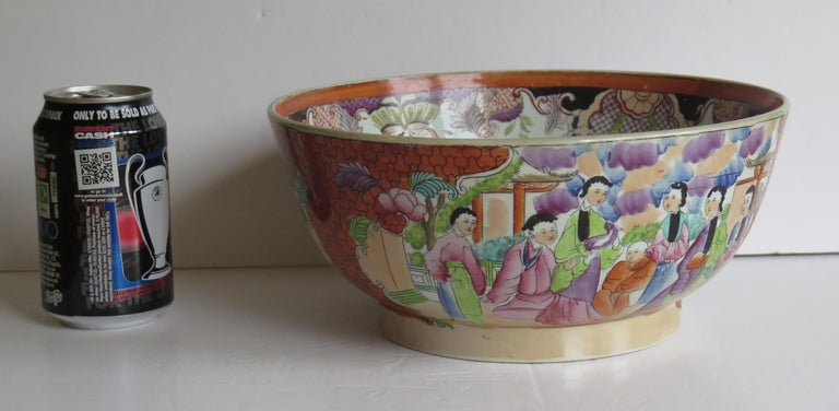 Georgian Mason's Ironstone Large Bowl in Red Scale People Pattern, Circa 1815 For Sale 12