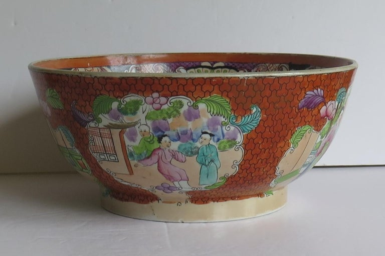 Chinoiserie Georgian Mason's Ironstone Large Bowl in Red Scale People Pattern, Circa 1815 For Sale