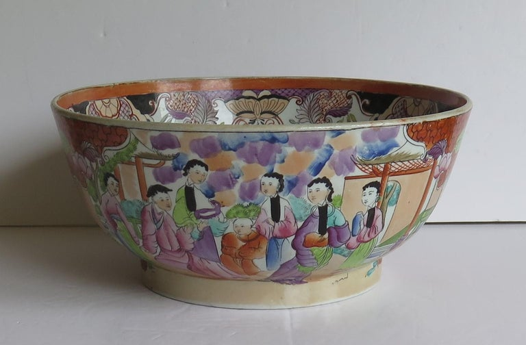 English Georgian Mason's Ironstone Large Bowl in Red Scale People Pattern, Circa 1815 For Sale