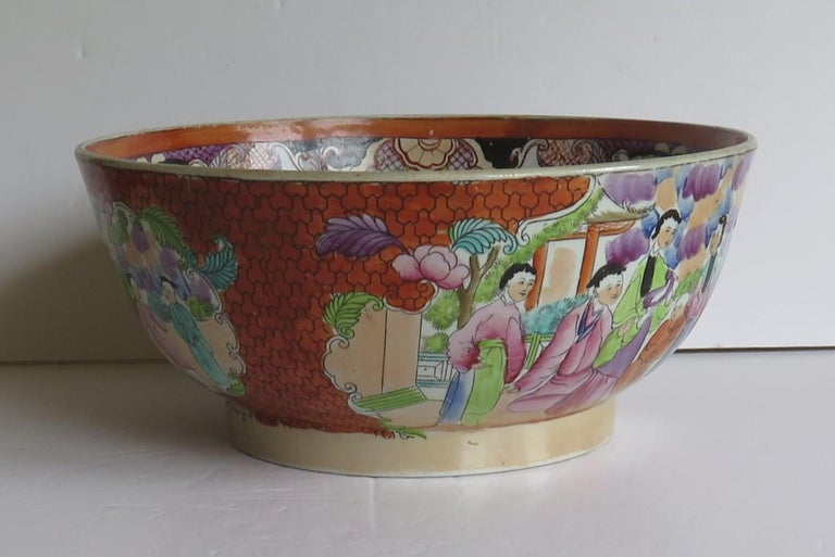 19th Century Georgian Mason's Ironstone Large Bowl in Red Scale People Pattern, Circa 1815 For Sale
