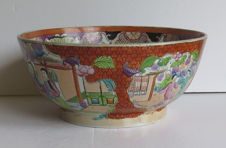 Georgian Mason's Ironstone Large Bowl in Red Scale People Pattern, Circa 1815 For Sale 1